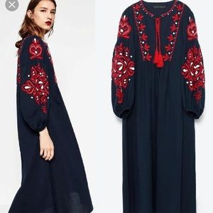 Zara navy and red embroidered dress